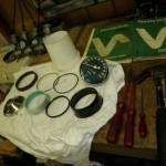 Alle onderdelen opgefrisd en gespoten weer klaar om te monteren tot een werkende teller